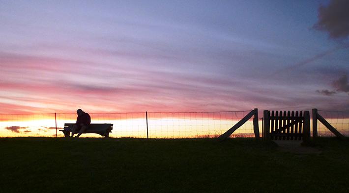 Bank auf dem Deich bei Sonnenuntergang