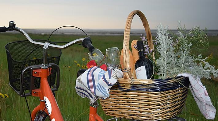 Fahrrad mit gefülltem Picknickkorb am Wattenmeer